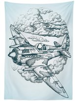 vipsung Airplane Decor Tablecloth Plane in the Sky Round Icon Vintage Plane in mid-air Military Cloud Aerospace Drawing Effect Dining Room Kitchen Rectangular Table Cover