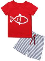 Kidlove Toddler Stripe Cotton Kids Baby Boy Clothes Tops&Short Set Outfit (1-2T, )