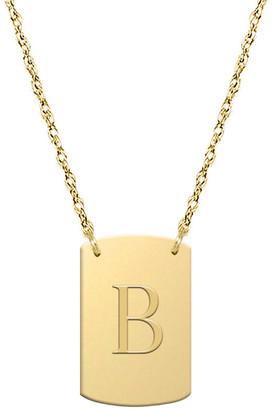 Jane Basch 14K Block Initial Dog Tag Necklace (A-Z)