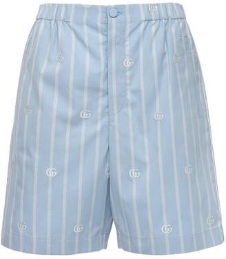 Gucci Striped Gg Cotton Shorts