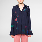 Paul Smith Women's Navy Embroidered Paisley Shirt With Frill Cuffs