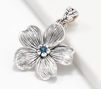 """JAI Sterling Silver & Blue Topaz 'Forget Me Not"""" Flower Enhancer"""