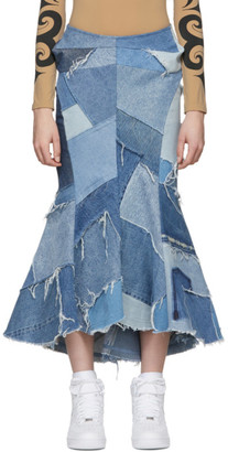 Junya Watanabe Indigo Denim Patchwork Flared Skirt