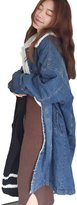 Moonpin Women's Casual Lamb Wool Fleece Long Denim Jacket Outwear