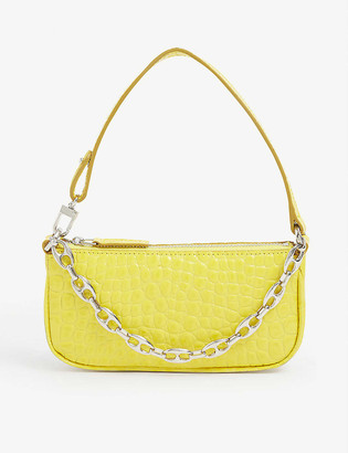 BY FAR Rachel mini crocodile-embossed deadstock-leather shoulder bag