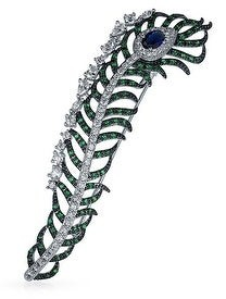 Bling Jewelry Elegant Long Peacock Feather Multicolor Cubic Zirconia Brooch Pin