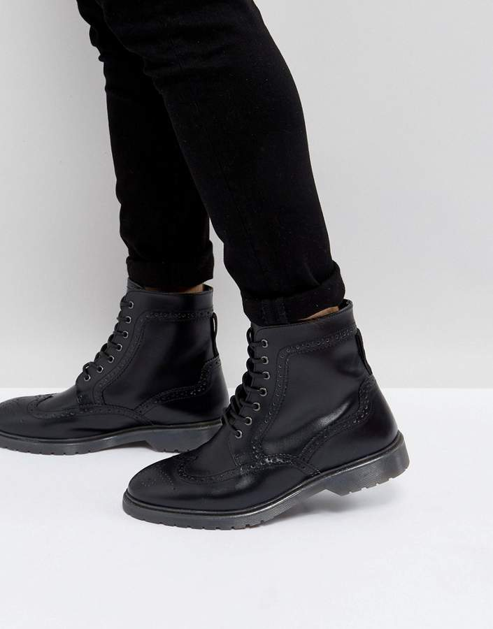 Asos DESIGN Brogue Boots In Black Leather With Ribbed Sole