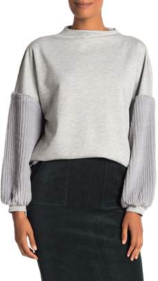 Catherine Malandrino Mock Neck Faux Fur Sleeve Pullover