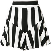 Milly striped ruffled shorts - women - Polyester/Spandex/Elastane/Viscose - 2