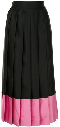 MSGM Contrasting-Hem Pleated Skirt