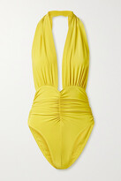 Thumbnail for your product : Norma Kamali Slinky Marissa Ruched Halterneck Swimsuit - Chartreuse