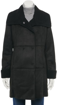 Women's Green with Envy Sherpa Envelope-Collar Faux-Suede Coat