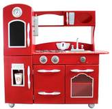 Teamson Kids Retro Wooden Play Kitchen - Red