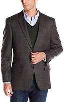 Haggar Men's Herringbone Deco Windowpane Lambswool Sport Coat