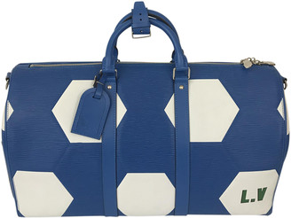Louis Vuitton Keepall Blue Leather Bags