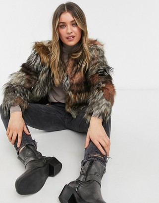 BB Dakota patch my drift faux fur coat in tan