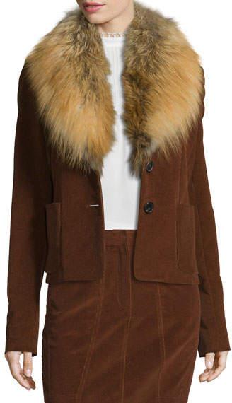 Derek Lam Corduroy Jacket w/Fox Fur Collar, Vicuna