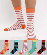 Asos Design ASOS DESIGN ankle sock in stripe designs 5 pack