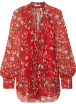 Erdem Rosabel Pussy-bow Floral-print Silk-chiffon Blouse - Red