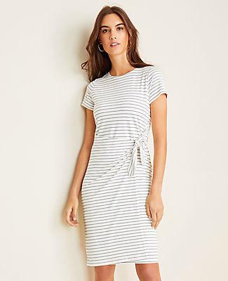Ann Taylor Petite Striped Side Tie Sheath Dress