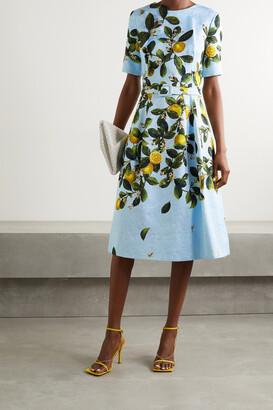 OSCAR DE LA RENTA - Belted Appliqued Printed Jacquard Dress - Blue