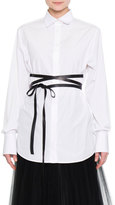 Valentino Hidden-Placket Wrap-Belt Tunic, White