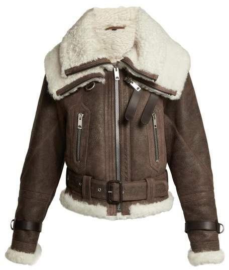Burberry Shearling And Leather Aviator Jacket - Womens - Brown
