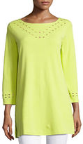 Joan Vass Cutout-Detail Interlock Tunic, Petite