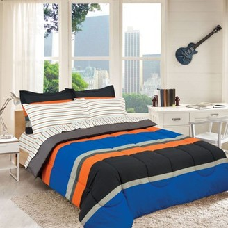 Royale Linens Rugby Stripe Orange Reversible Bed in a Bag