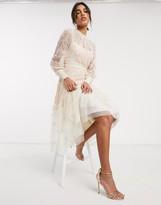 Needle & Thread embroidered tiered midi dress in cream