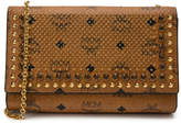 MCM Crossbody Wallet Visetos Studded Crystal Cognac