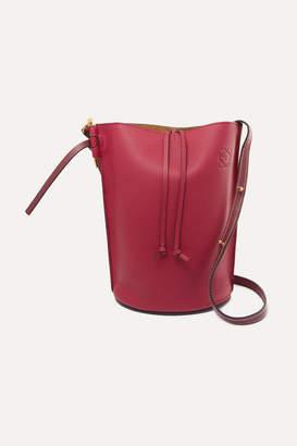 Loewe Gate Textured-leather Bucket Bag - Burgundy