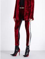 Haider Ackermann Tuxedo skinny velvet and leather trousers