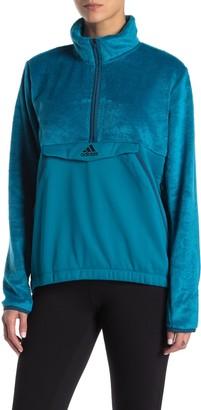 adidas Faux Fur Half Zip Kangaroo Pocket Pullover