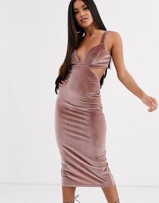 ASOS DESIGN cut out velvet buckle back detail midi dress