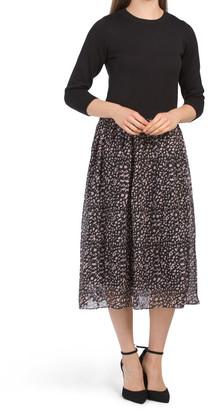 Twofer Sweater Top Chiffon Skirt Dress