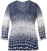 House of Fraser Chesca Plus Size Navy/white laser top