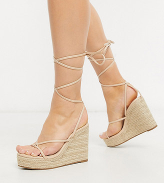 Glamorous Wide Fit espadrille wedge sandal with ankle tie in beige