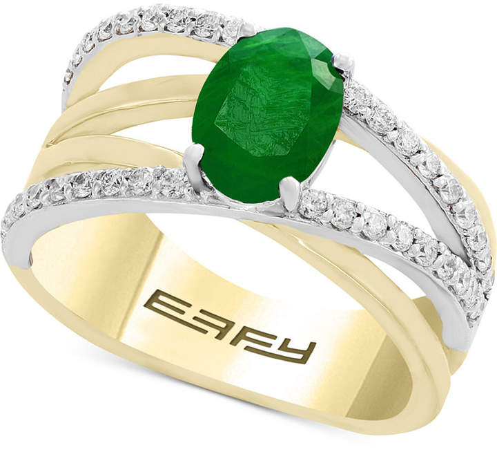 Effy Final Call by Emerald (1-1/8 ct. t.w.) & Diamond (1/3 ct. t.w.) Crisscross Ring in 14k Gold & White Gold