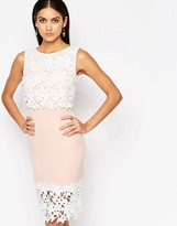 Lipsy 2 in 1 Lace Applique Pencil Dress