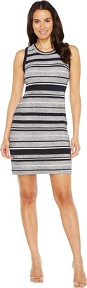 Karen Kane Women's Indigo Stripe Jacquard Dress L