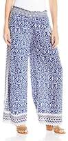 Angie Women's Blue Printed Soft Pants