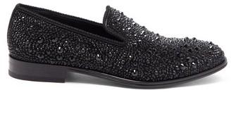 Alexander McQueen Crystal-embellished Leather Loafers - Mens - Black Multi