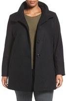 Larry Levine Plus Size Women's A-Line Wool Blend Coat