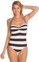 Tommy Bahama Rugby Stripe Halter One Piece Swimsuit W Cutout Back 8125520