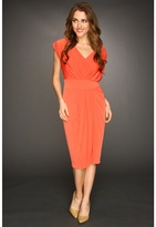 Suzi Chin for Maggy Boutique - Cap Sleeve V-Neck Draped Faux Wrap Dress (Sunset) - Apparel
