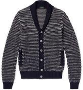 Incotex Shawl-collar Wool And Alpaca-blend Cardigan - Navy