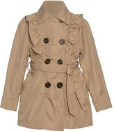 Urban Republic Big Girls Stone Ruffle Trim Belt Double Breasted Coat
