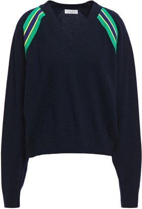 Sandro Alexandrie Striped Wool And Cashmere-blend Sweater