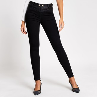 River Island Womens Black faux leather Amelie super skinny jeans